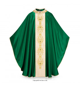 Green Color Cruz Ornada Chasuble