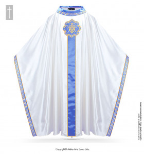 White Color Marian Immaculatae Conceptionis Chasuble