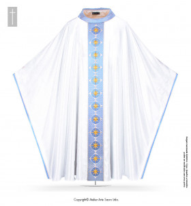 White and Blue Color Queen of Heaven Chasuble