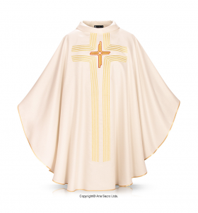 Beige Color Cross in Lines Chasuble