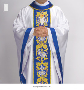 White and Blue Color Gratia Plena Chasuble