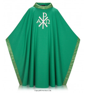 Green Color Monogram Singelo Chasuble