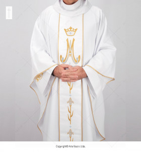 White Color Marian Chasuble