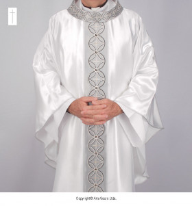 White Color Kyrios Silver Jubilee Chasuble
